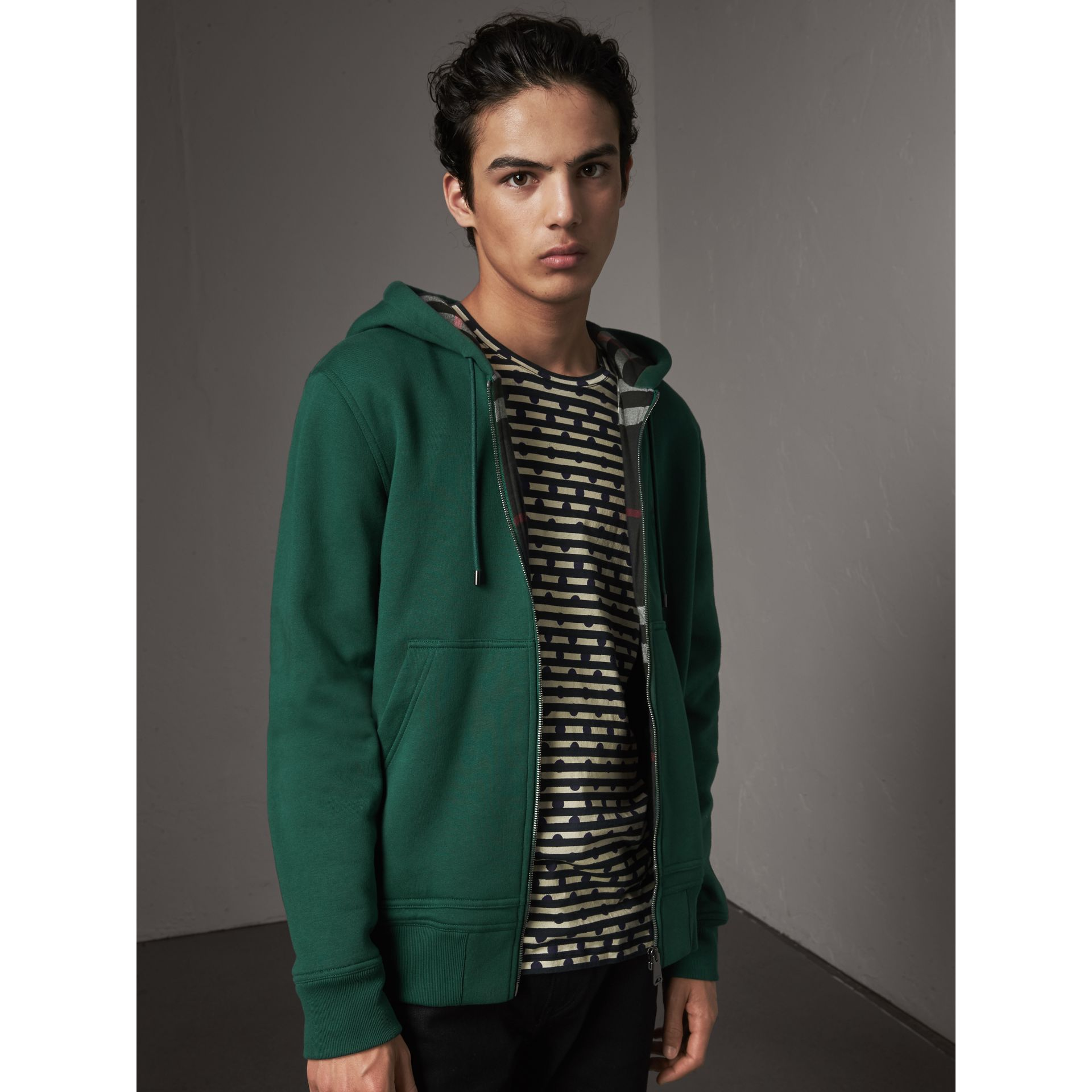 Check Detail Jersey Hooded Top in Dark Forest Green - Men | Burberry - gallery image 1