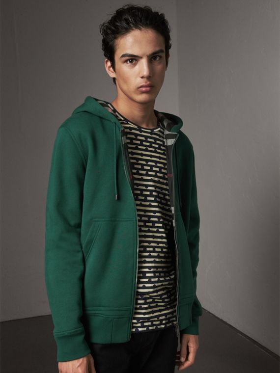 Check Detail Jersey Hooded Top in Dark Forest Green