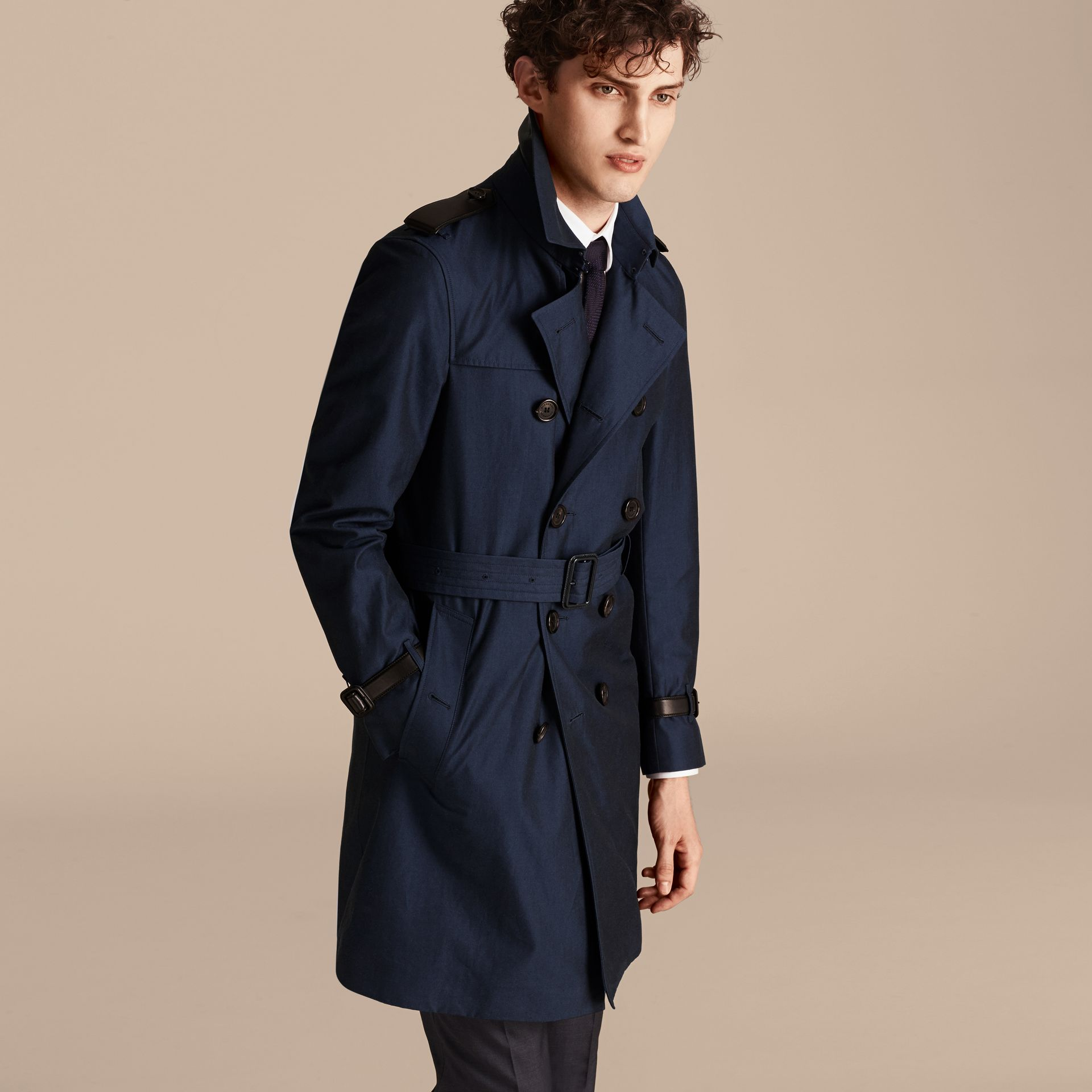 Flint blue Leather Detail Cotton Gabardine Trench Coat - gallery image 7