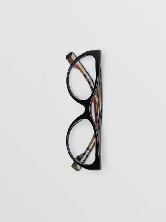 Cat-Eye-Korrekturbrille mit Vintage Check-Detail (Schwarz)