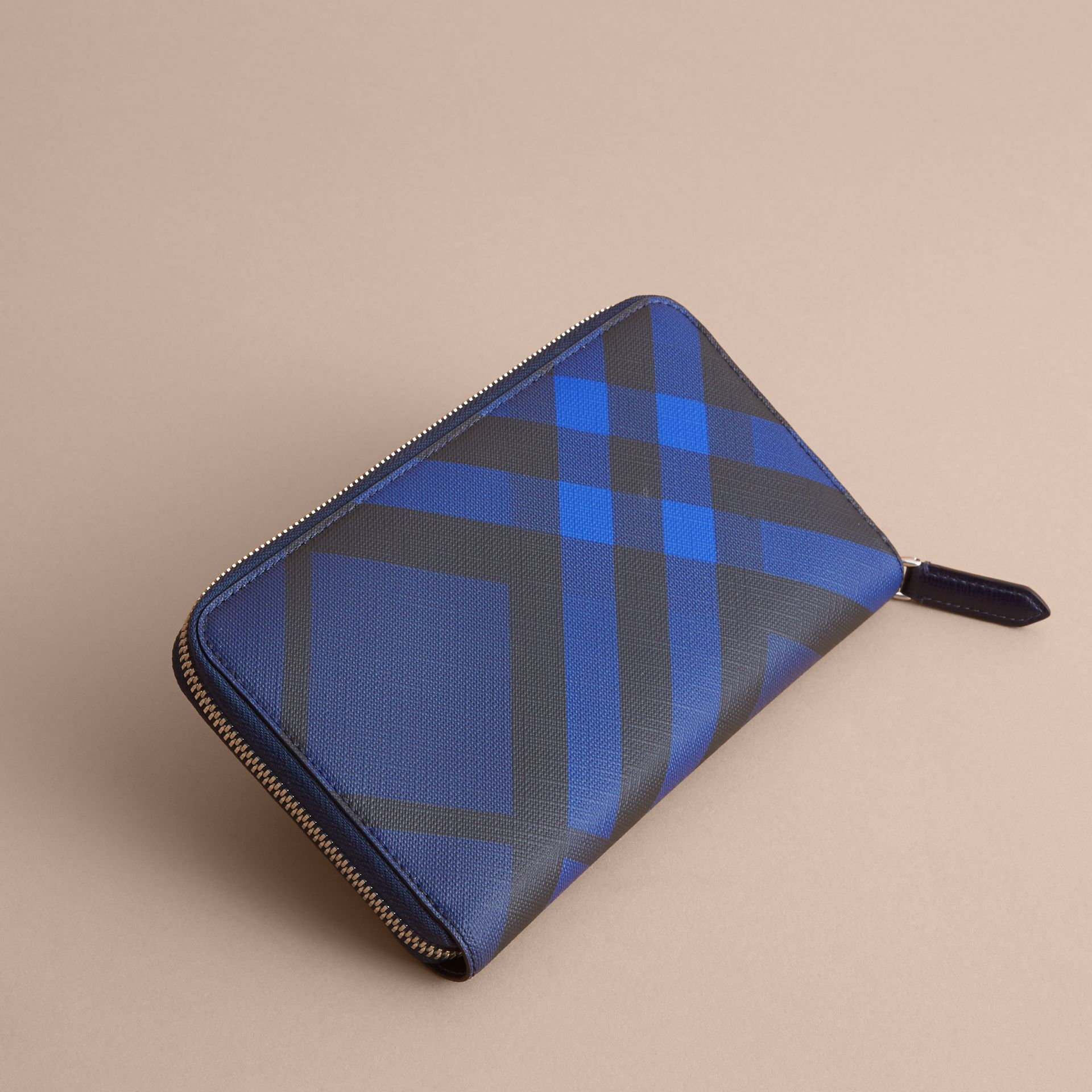 London Check Ziparound Wallet Bright Lapis - gallery image 4