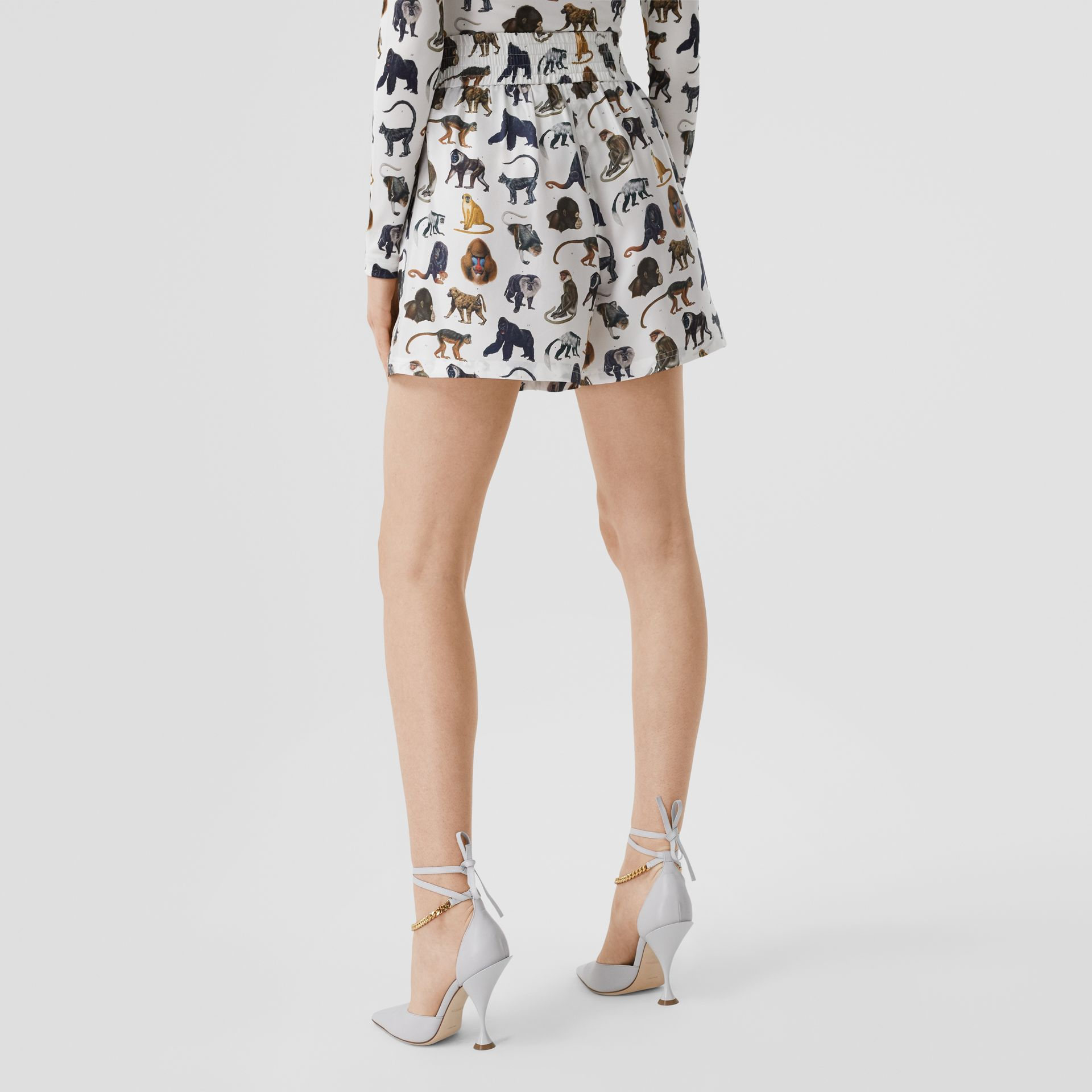 Monkey Print Silk Twill Shorts in Optic White | Burberry United Kingdom - gallery image 2