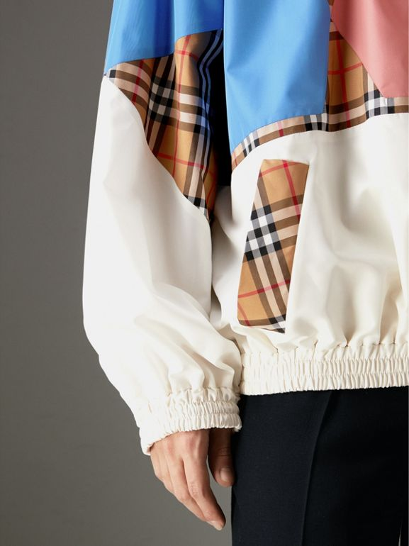 Vintage Check Panel Silk Shell Suit Jacket in White | Burberry - cell image 1