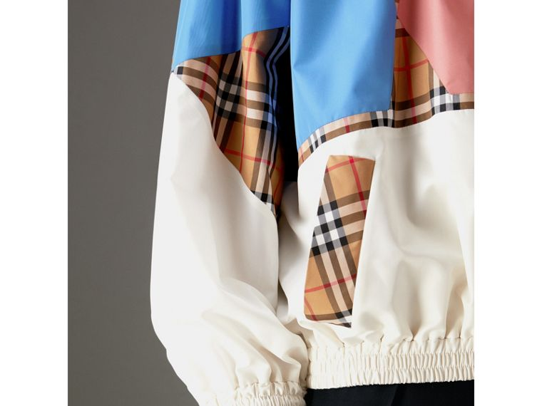 Vintage Check Panel Silk Shell Suit Jacket in White | Burberry Hong Kong - cell image 1