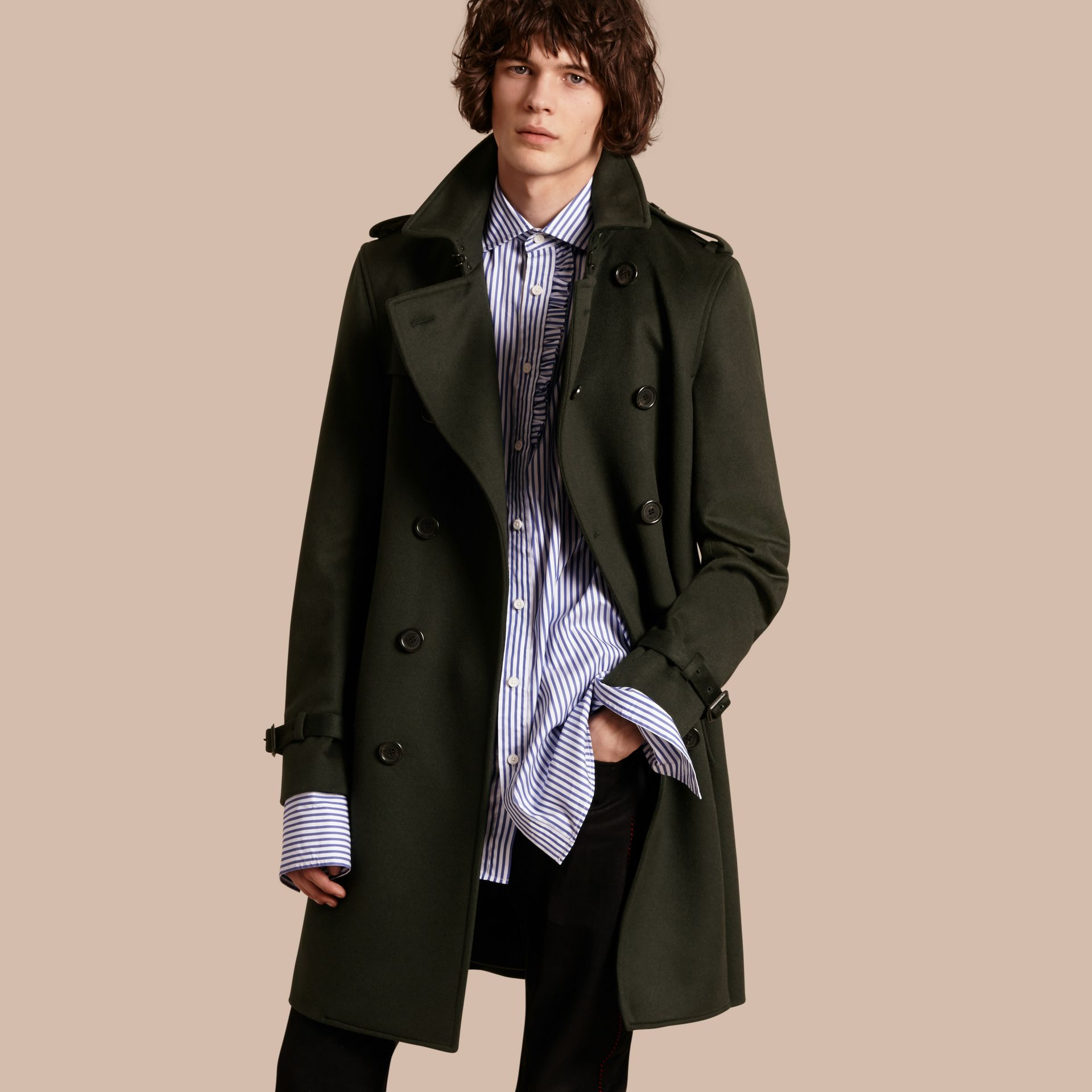 Cashmere Trench Coat in Dark Military Green - gallery image 1
