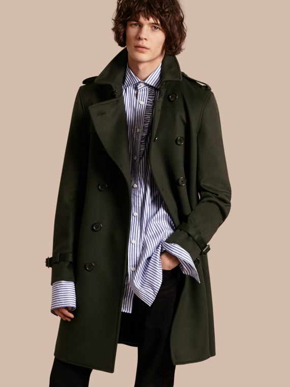 Trench coat in cashmere Verde Militare Scuro