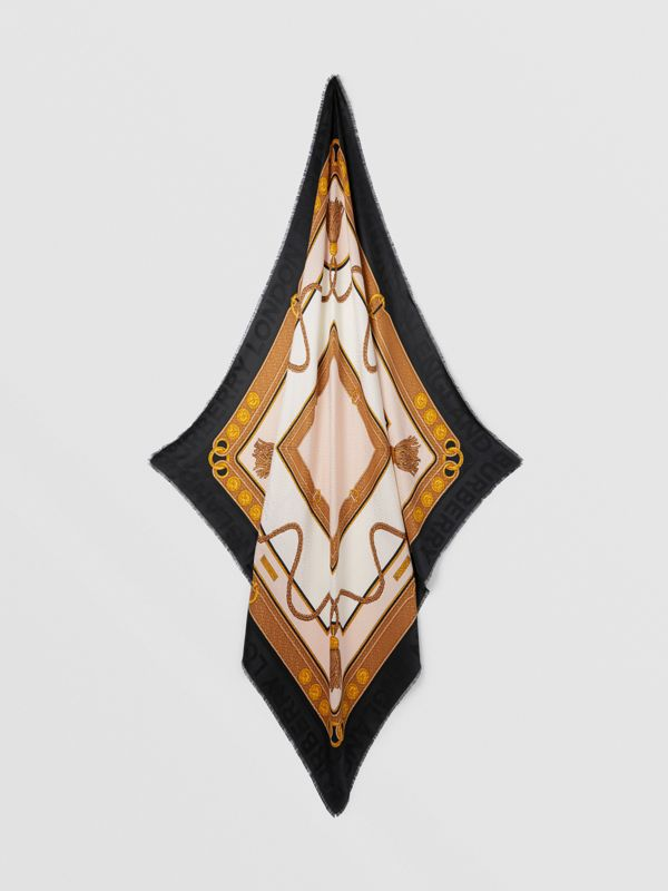 Archive Scarf Print Silk Wool Large Square Scarf in Blush | Burberry - cell image 3