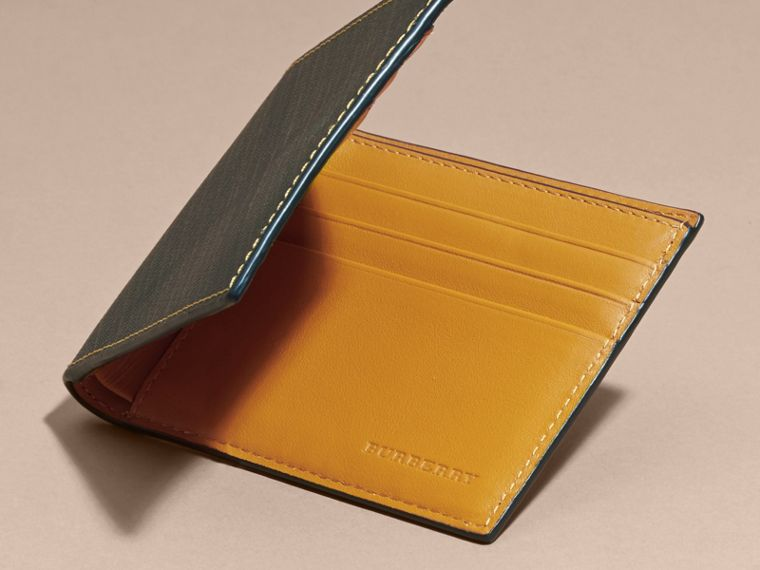 London Check and Leather Bifold Wallet in Larch Yellow - cell image 4