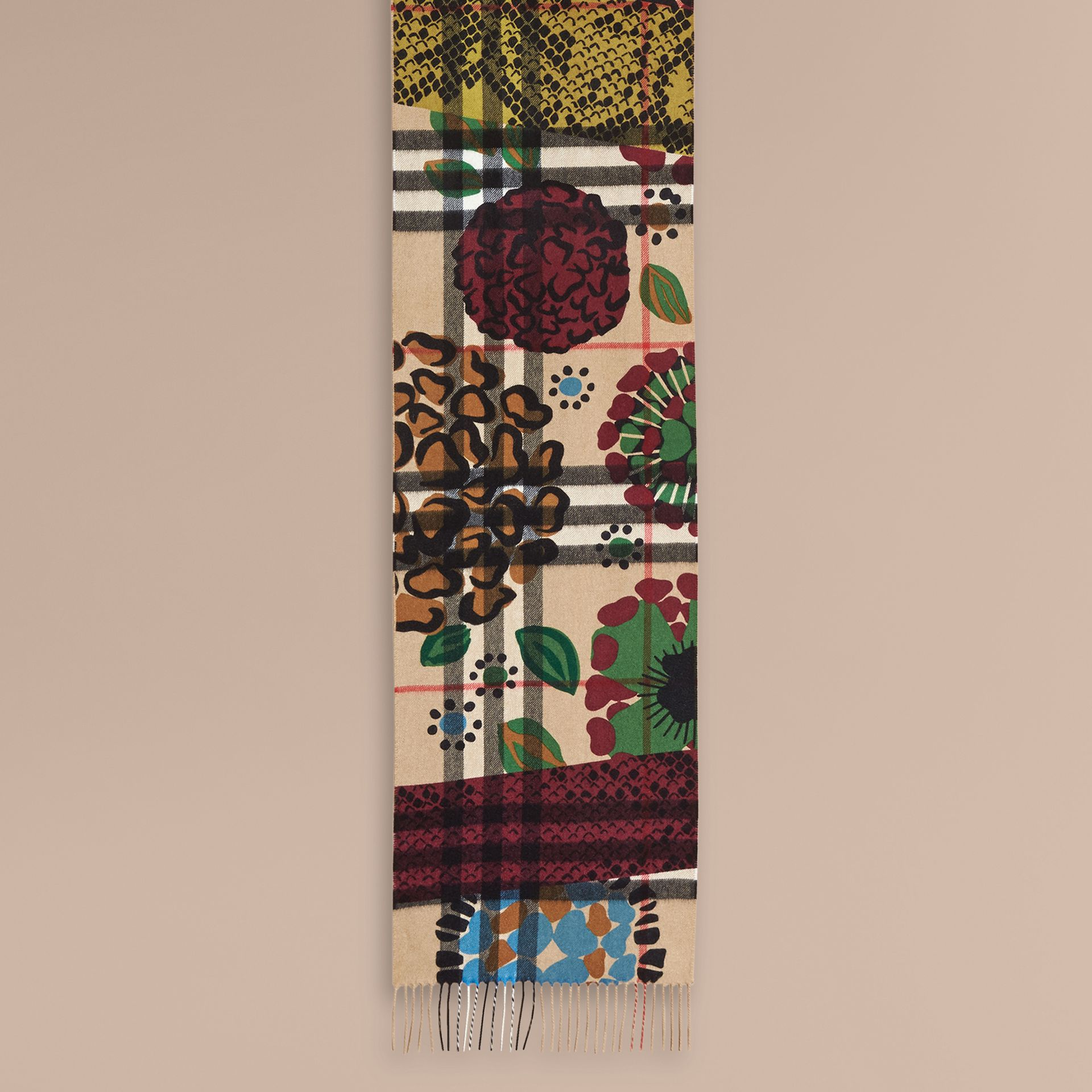The Classic Cashmere Scarf in Check with Patchwork Print - gallery image 2