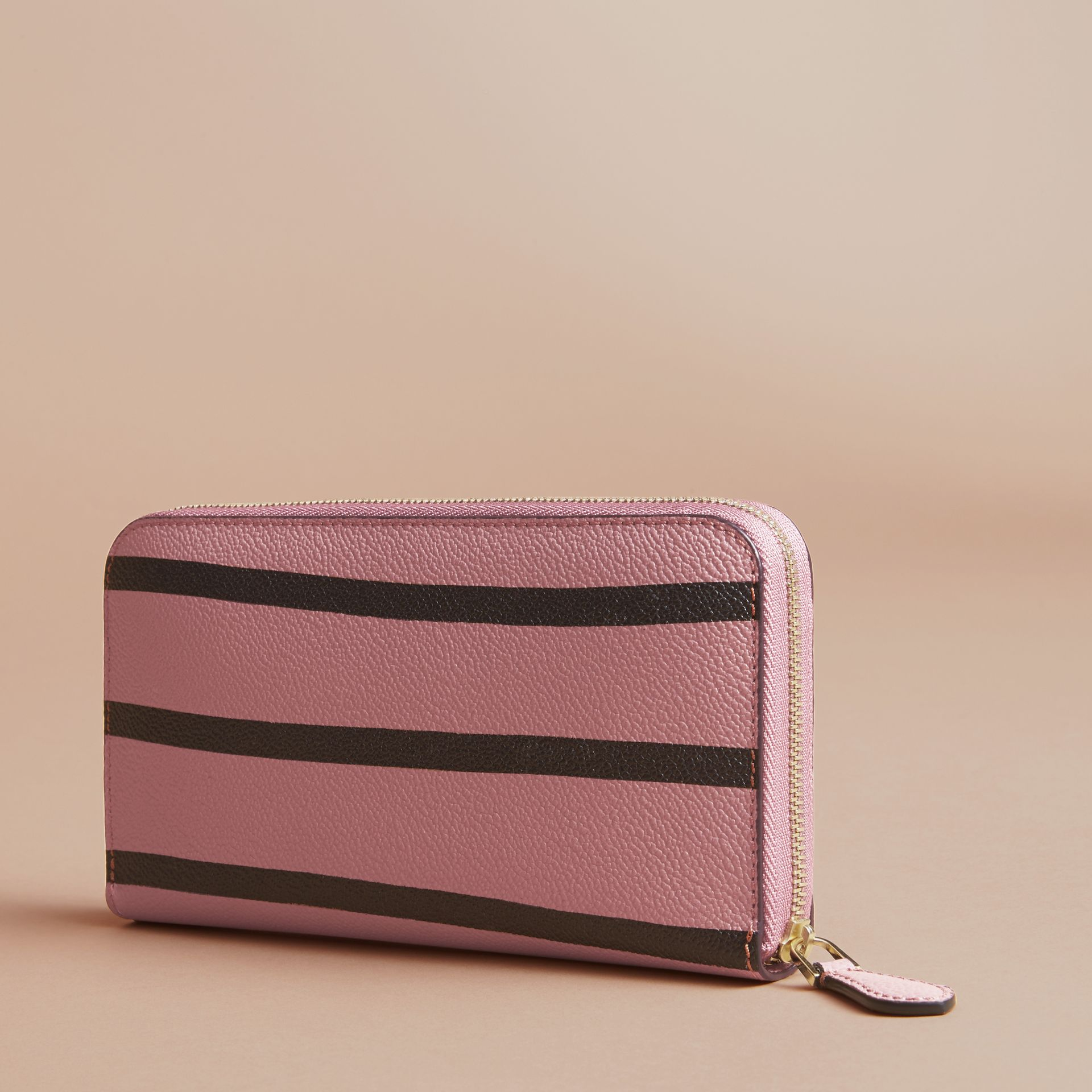 Trompe L'oeil Print Leather Ziparound Wallet in Dusty Pink - Women | Burberry - gallery image 6