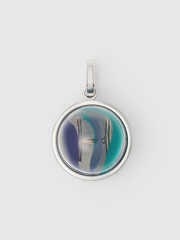 Marbled Resin 'H' Alphabet Charm in Palladio/ocean Blue - Women | Burberry Australia - cell image 3