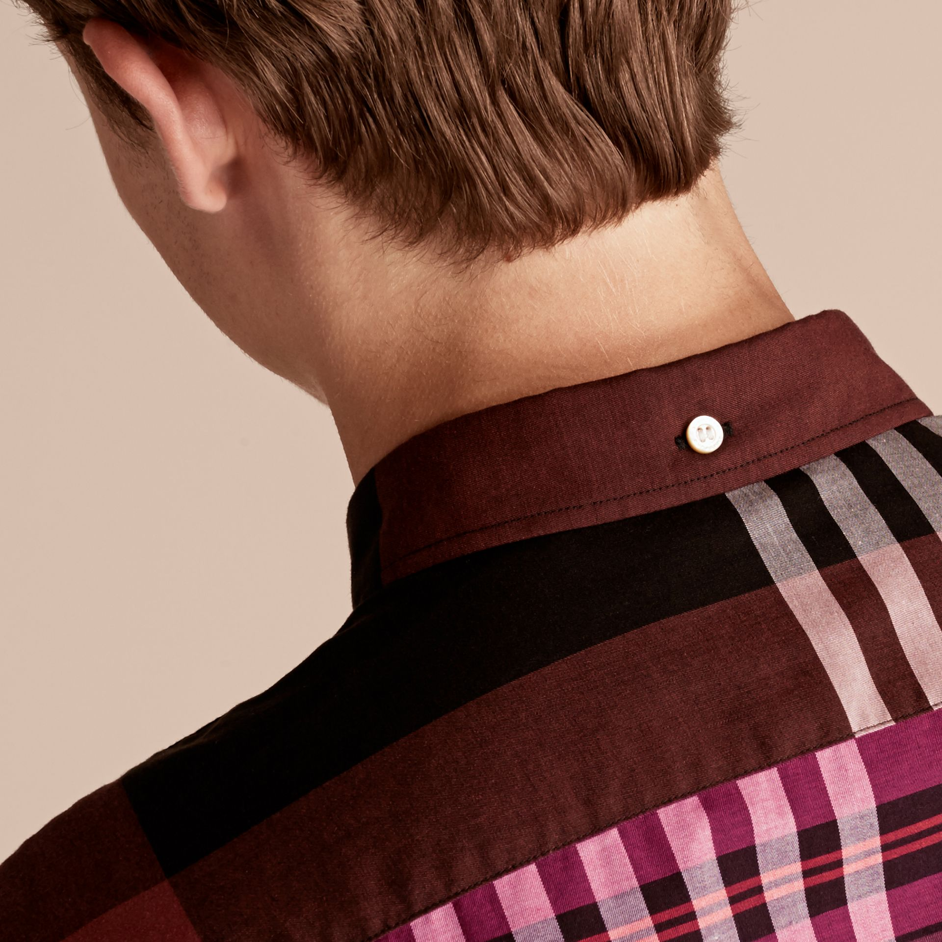 Graphic Tartan Cotton Shirt Deep Claret - gallery image 5