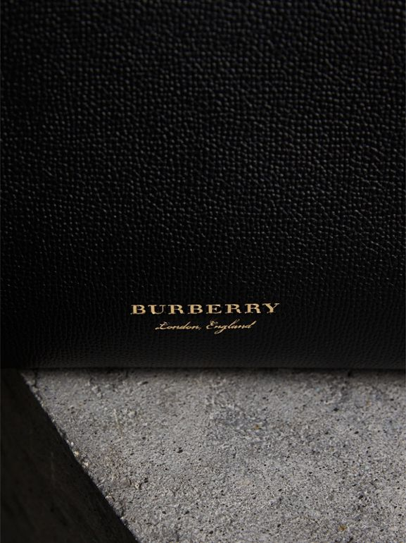 The Small Banner in Leather and House Check in Black/tan - Women | Burberry - cell image 1