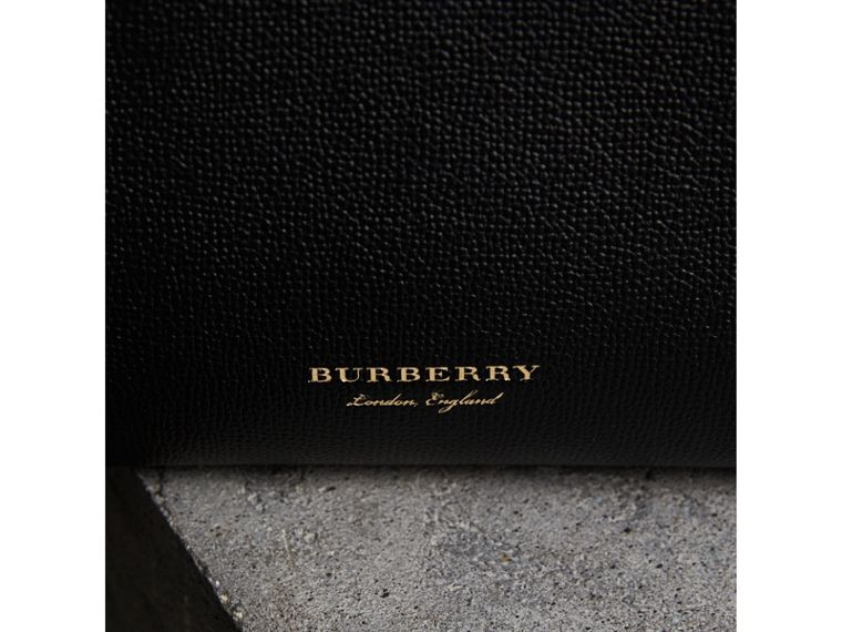 The Small Banner in Leather and House Check in Black/tan - Women | Burberry Hong Kong - cell image 1