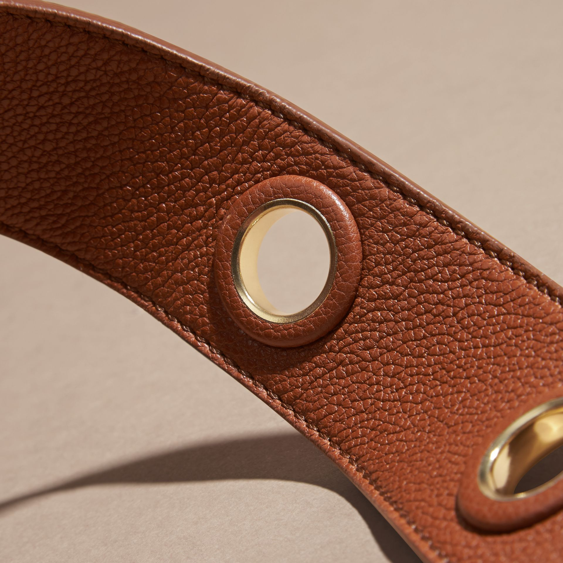Eyelet Detail Grainy Leather Belt Bright Toffee - gallery image 3