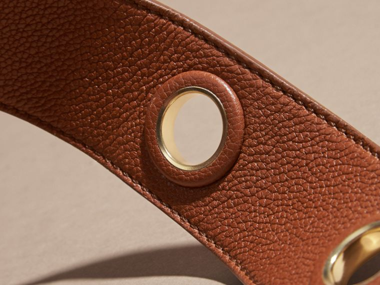 Eyelet Detail Grainy Leather Belt Bright Toffee - cell image 2