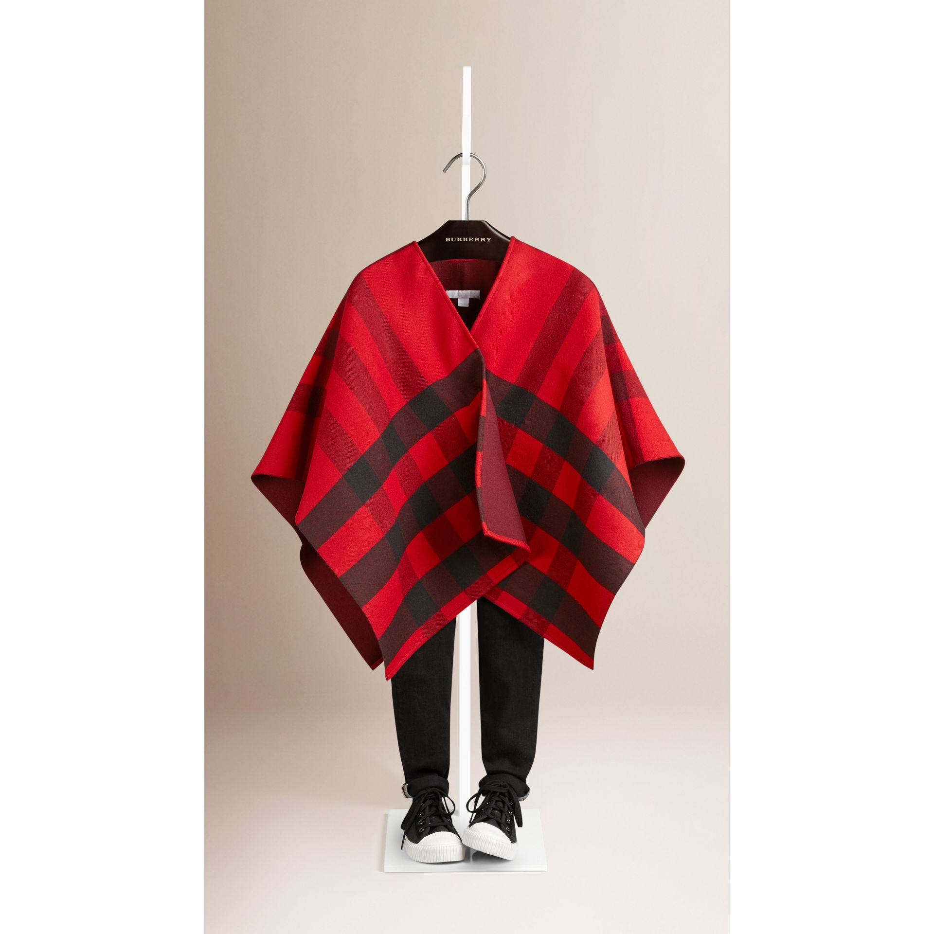 Check Wool Cape in Parade Red - gallery image 1