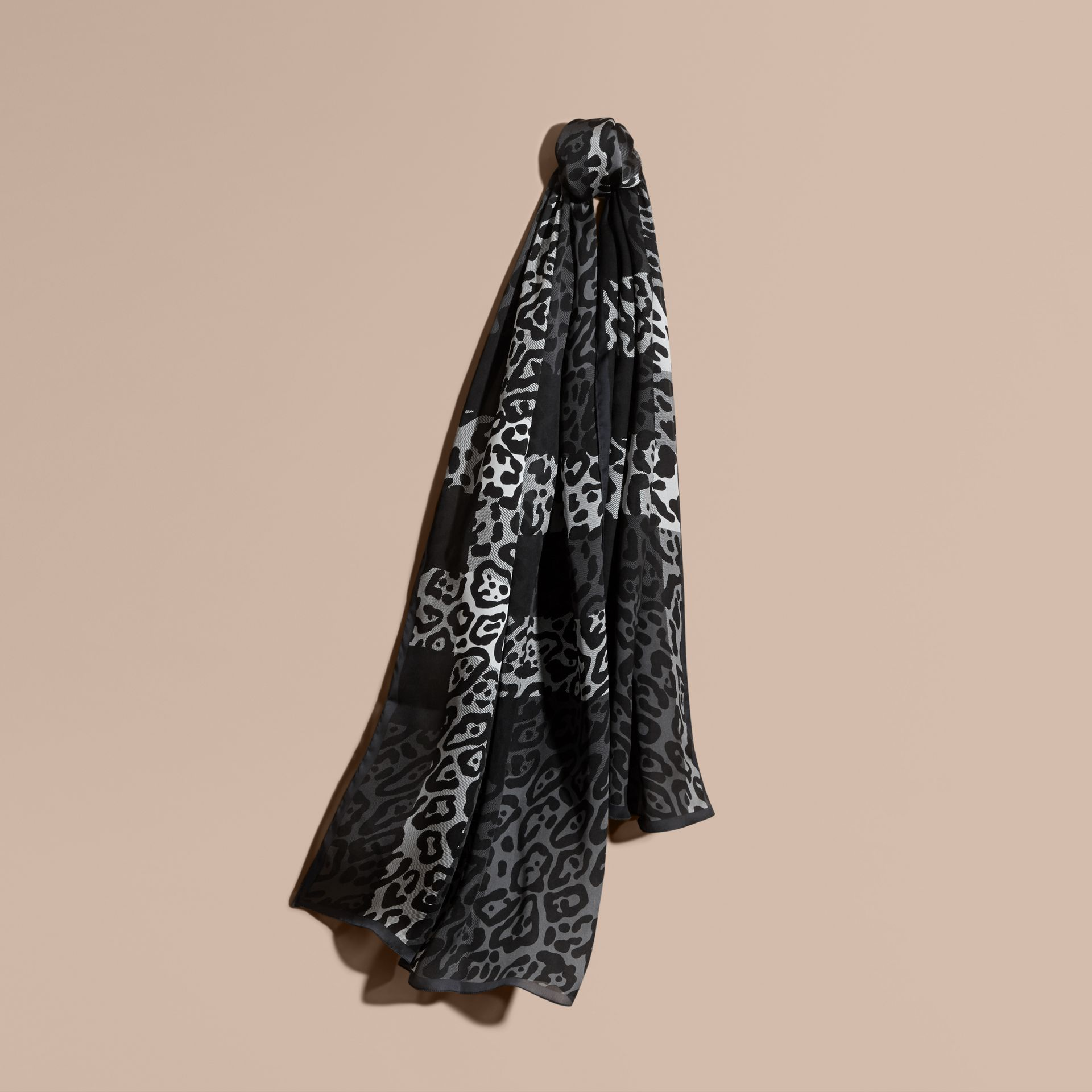 Lightweight Animal Print Check Silk Scarf Mid Grey/black - gallery image 1