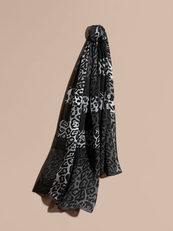 Lightweight Animal Print Check Silk Scarf Mid Grey/black