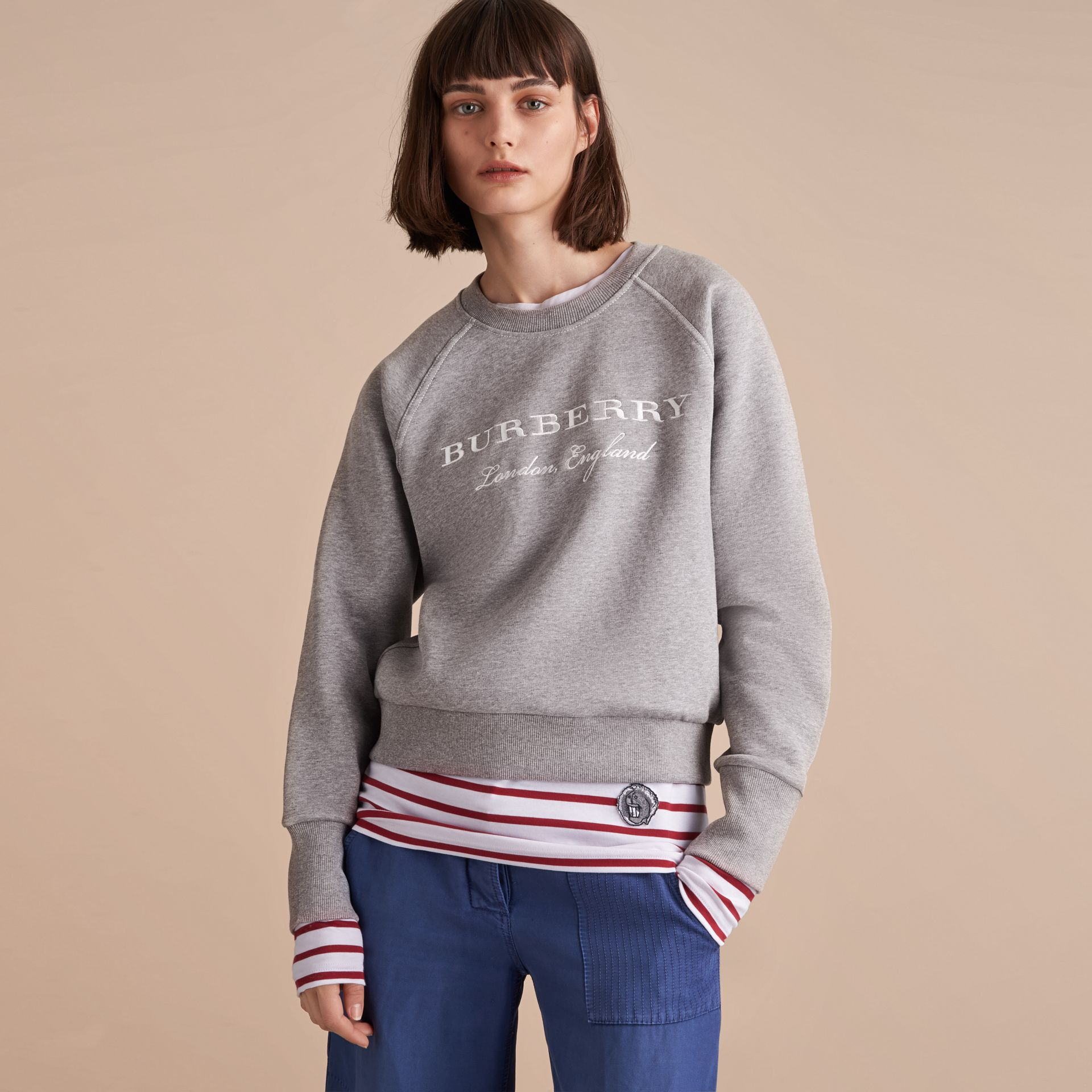 Embroidered Cotton Blend Jersey Sweatshirt in Pale Grey Melange - Women | Burberry - gallery image 6