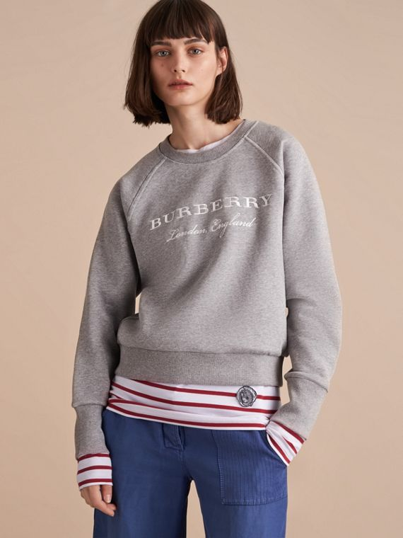 Embroidered Cotton Blend Jersey Sweatshirt in Pale Grey Melange - Women | Burberry