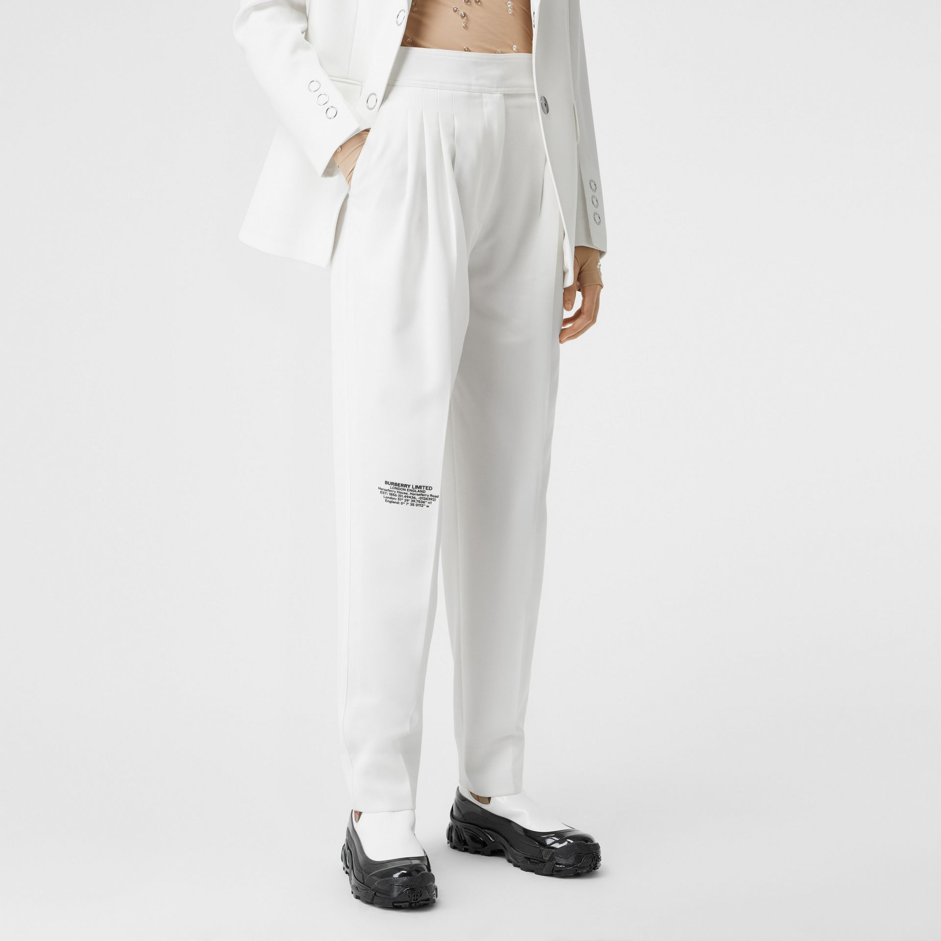 Location Print Wool Blend Tailored Trousers in Optic White - Women | Burberry United Kingdom - gallery image 4
