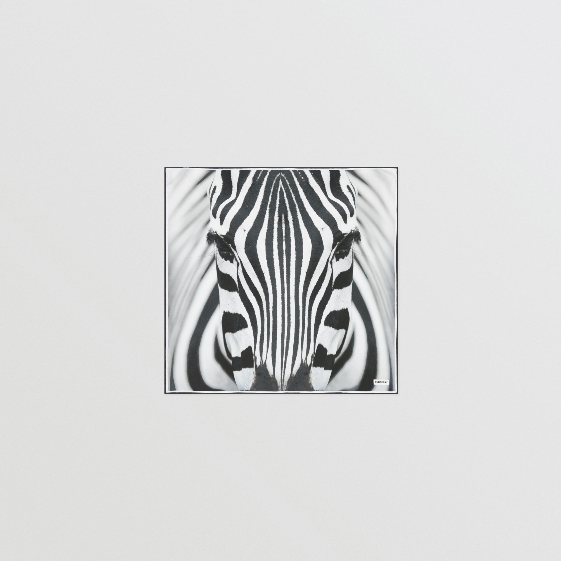 Zebra Print Silk Small Square Scarf in Monochrome | Burberry - gallery image 0