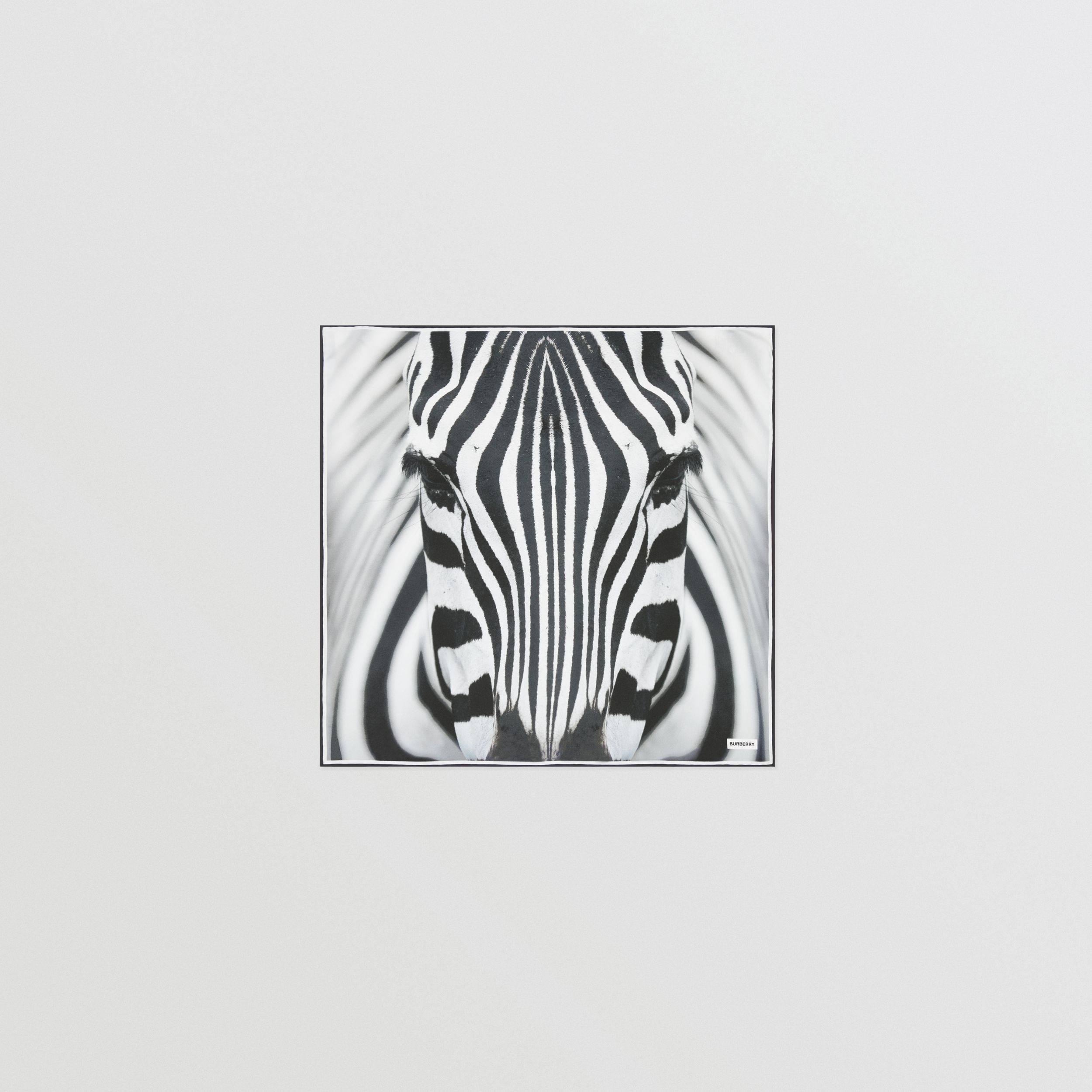 Zebra Print Silk Small Square Scarf in Monochrome | Burberry - 1