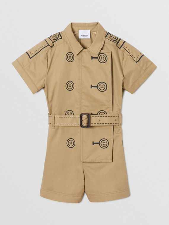 Trompe L'Oeil Cotton Belted Playsuit in Honey