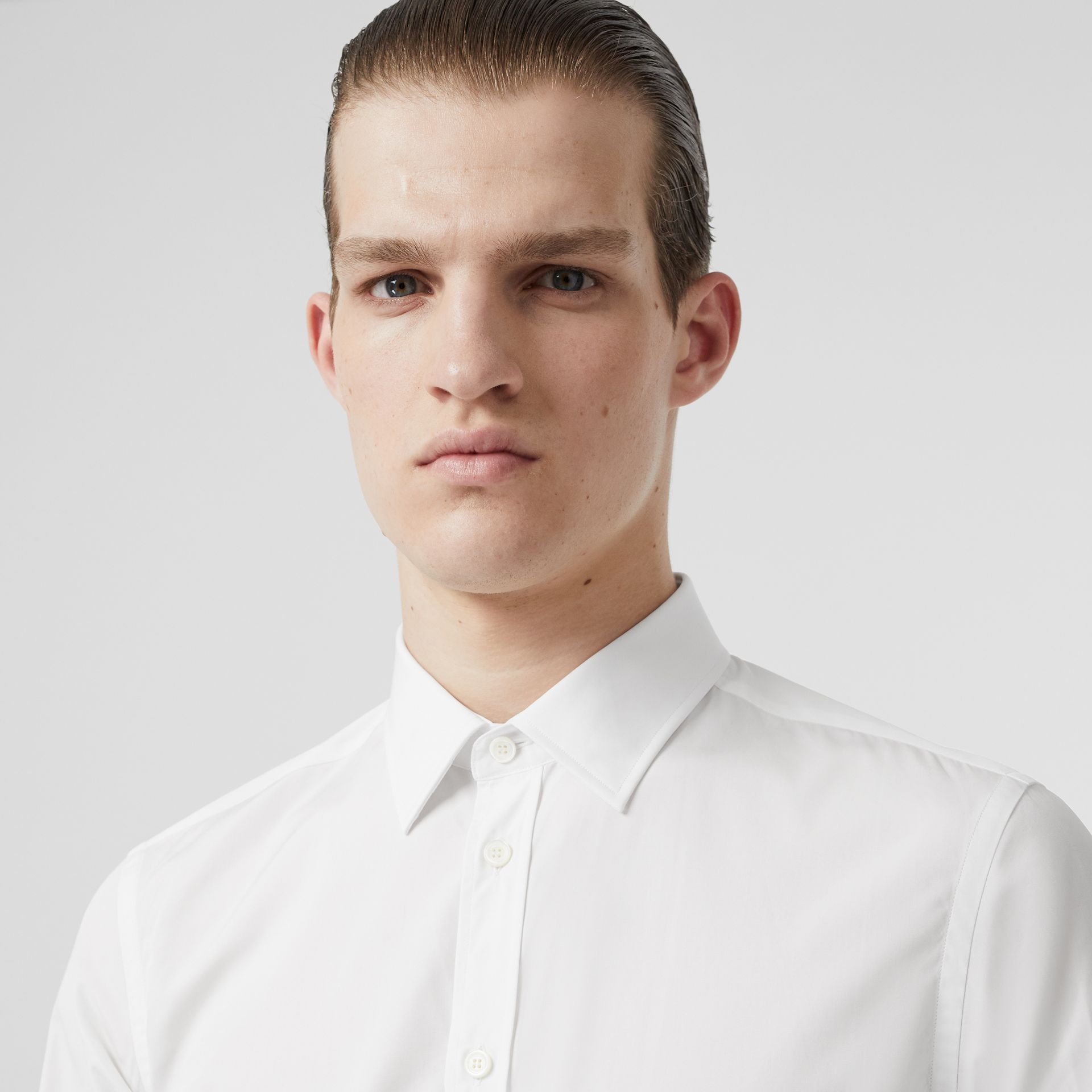 Slim Fit Monogram Motif Cotton Poplin Shirt in White - Men | Burberry - gallery image 1