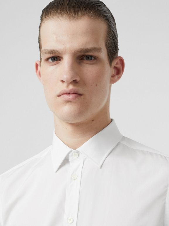 Slim Fit Monogram Motif Cotton Poplin Shirt in White - Men | Burberry - cell image 1