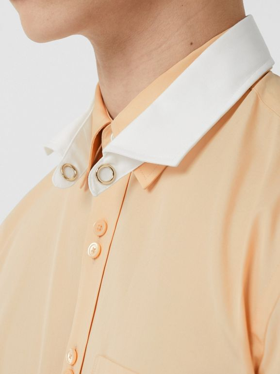 Classic Fit Detachable Collar Cotton Poplin Shirt in Buttermilk - Men | Burberry - cell image 1