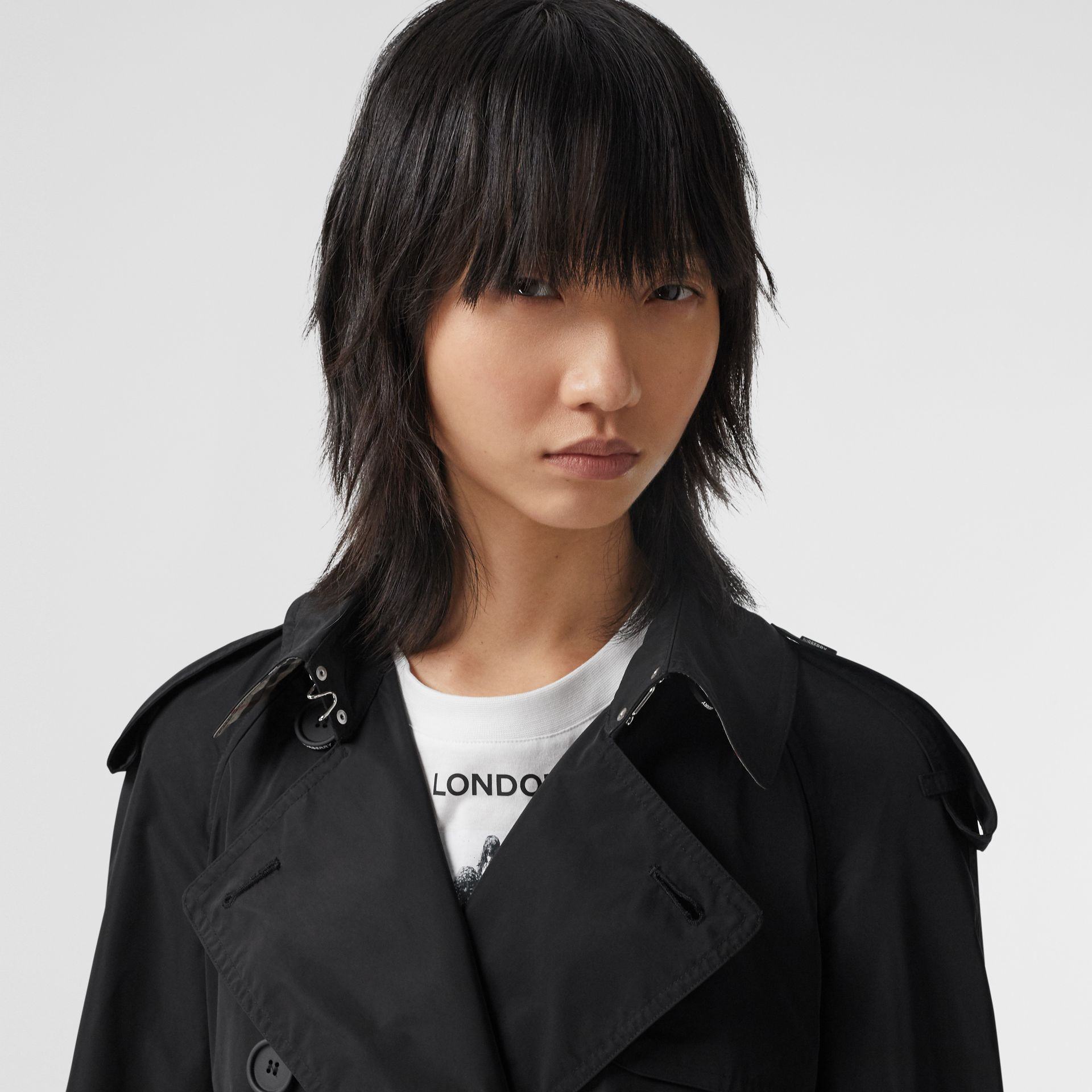 Extra Long Shape-memory Taffeta Trench Coat in Black - Women | Burberry - gallery image 1