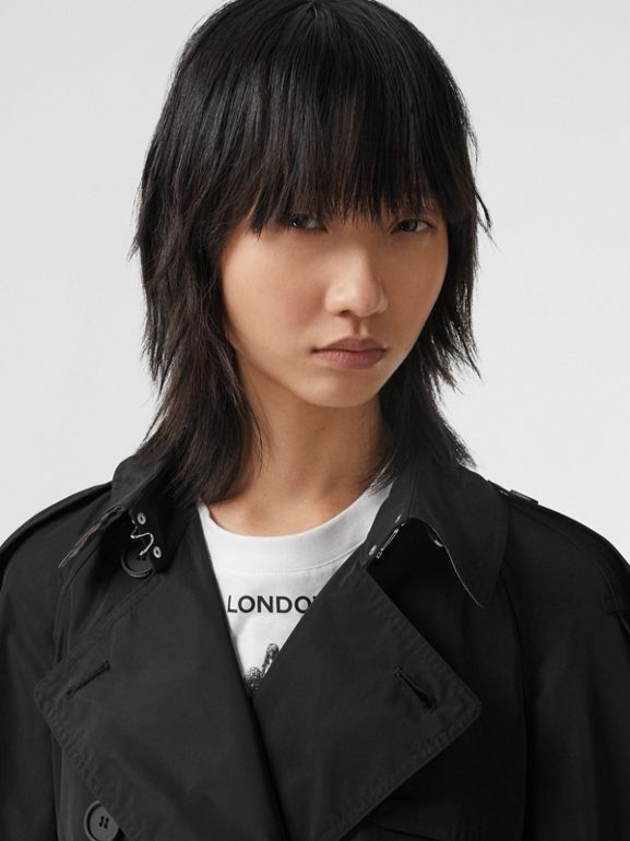 Extra Long Shape-memory Taffeta Trench Coat in Black - Women | Burberry Hong Kong S.A.R. - cell image 1