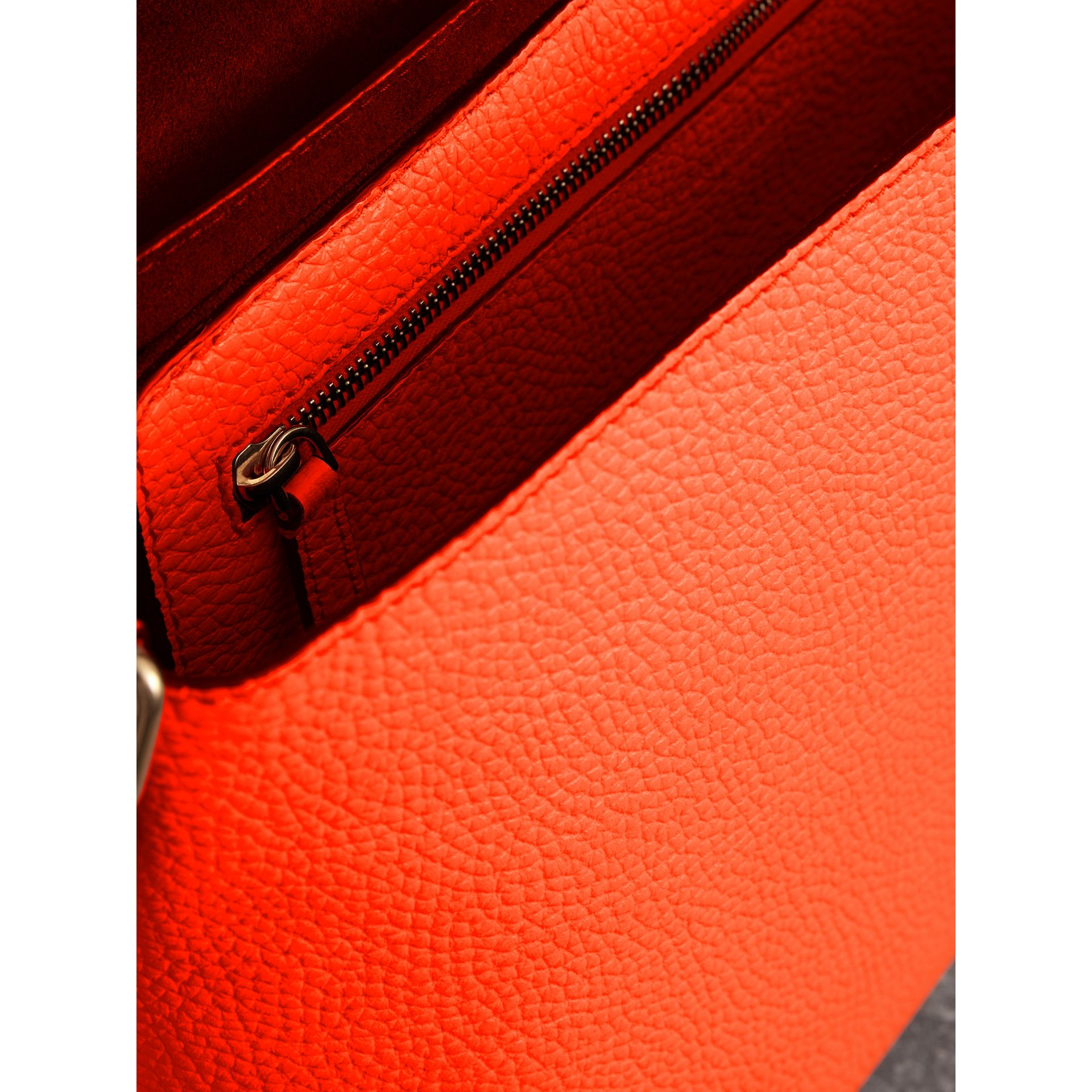 Large Embossed Leather Messenger Bag in Neon Orange | Burberry - gallery image 5