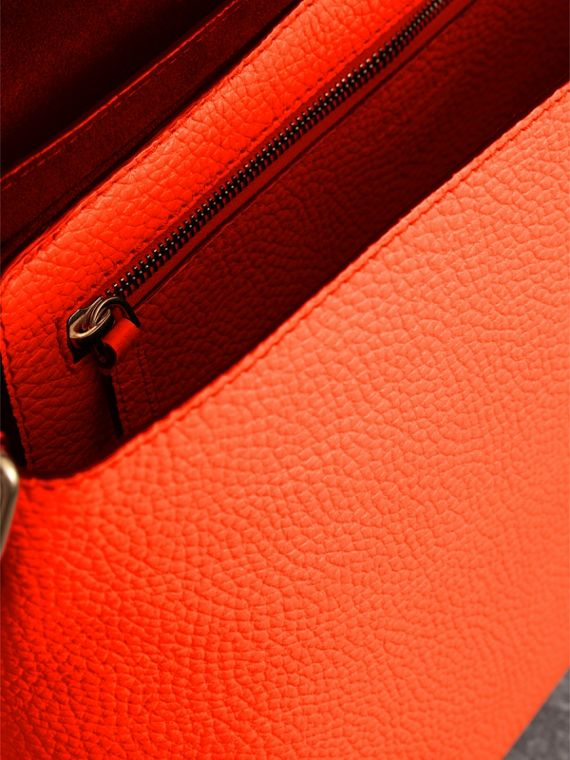 Large Embossed Leather Messenger Bag in Neon Orange | Burberry - cell image 3