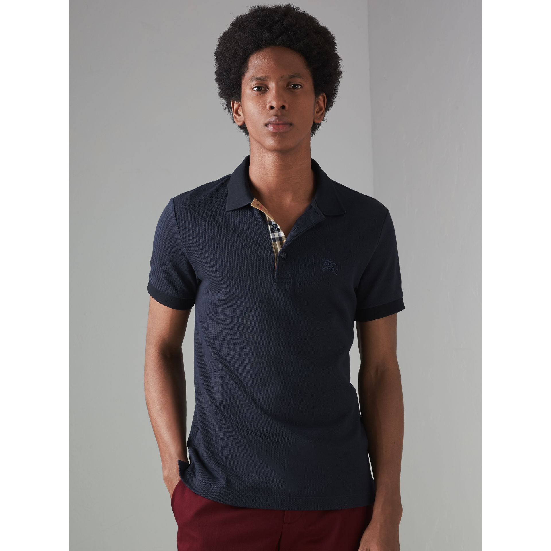 Contrast Collar Cotton Polo Shirt in Navy - Men | Burberry Singapore - gallery image 4