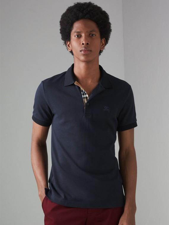 Contrast Collar Cotton Polo Shirt in Navy