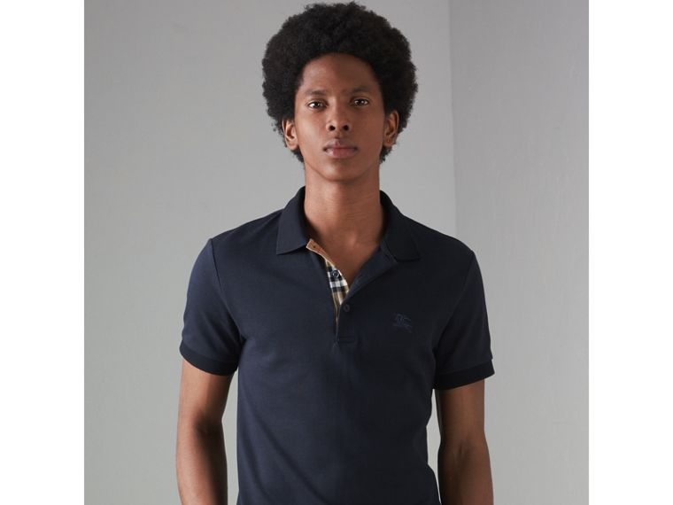 Contrast Collar Cotton Polo Shirt in Navy - Men | Burberry - cell image 4