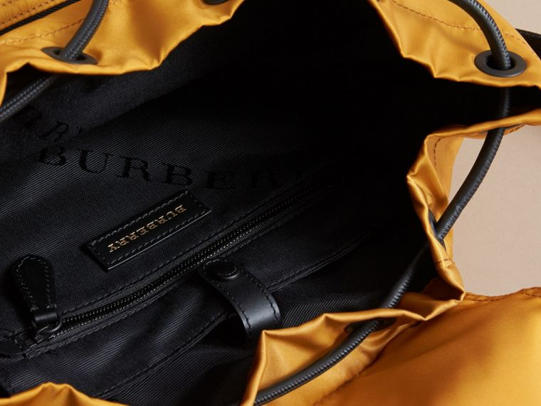 The Large Rucksack in Technical Nylon and Leather in Ochre Yellow - cell image 4