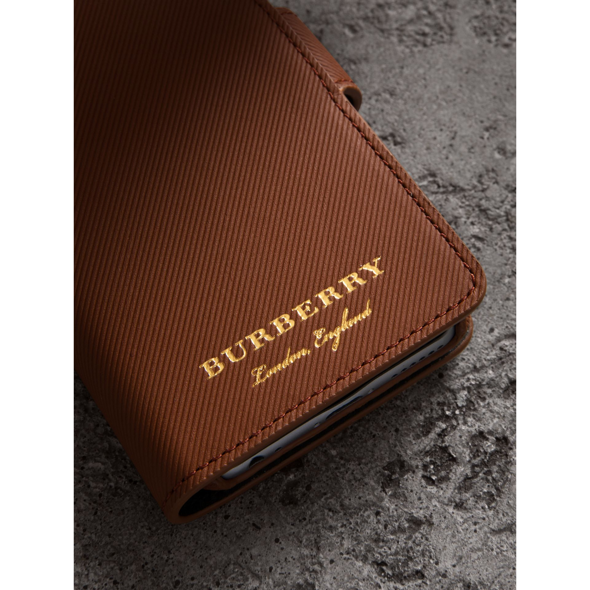 Trench Leather iPhone 7 Case in Tan | Burberry United Kingdom - gallery image 1
