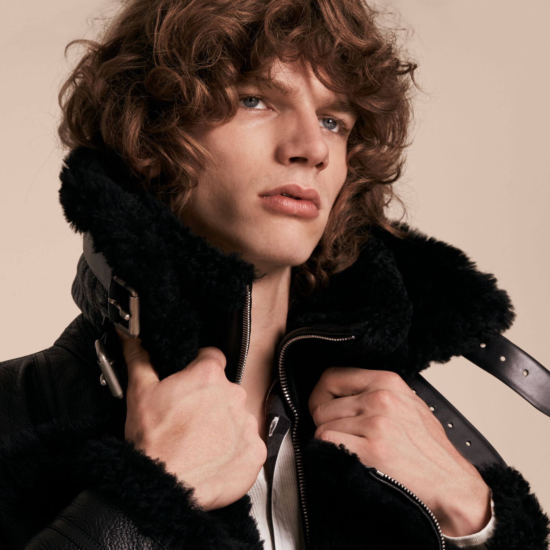 Black Long-line Shearling Aviator Jacket with Zip-out Bib - gallery image 5