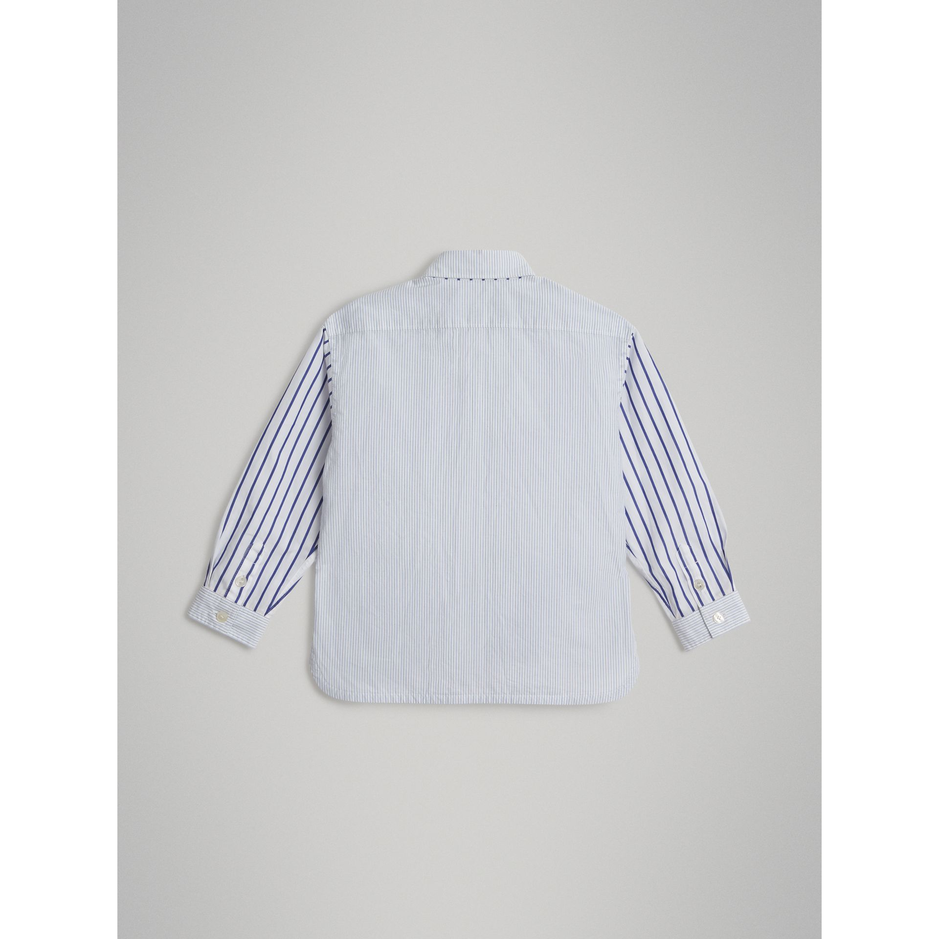 Contrast Stripe Cotton Shirt in Light Blue - Boy | Burberry - gallery image 3