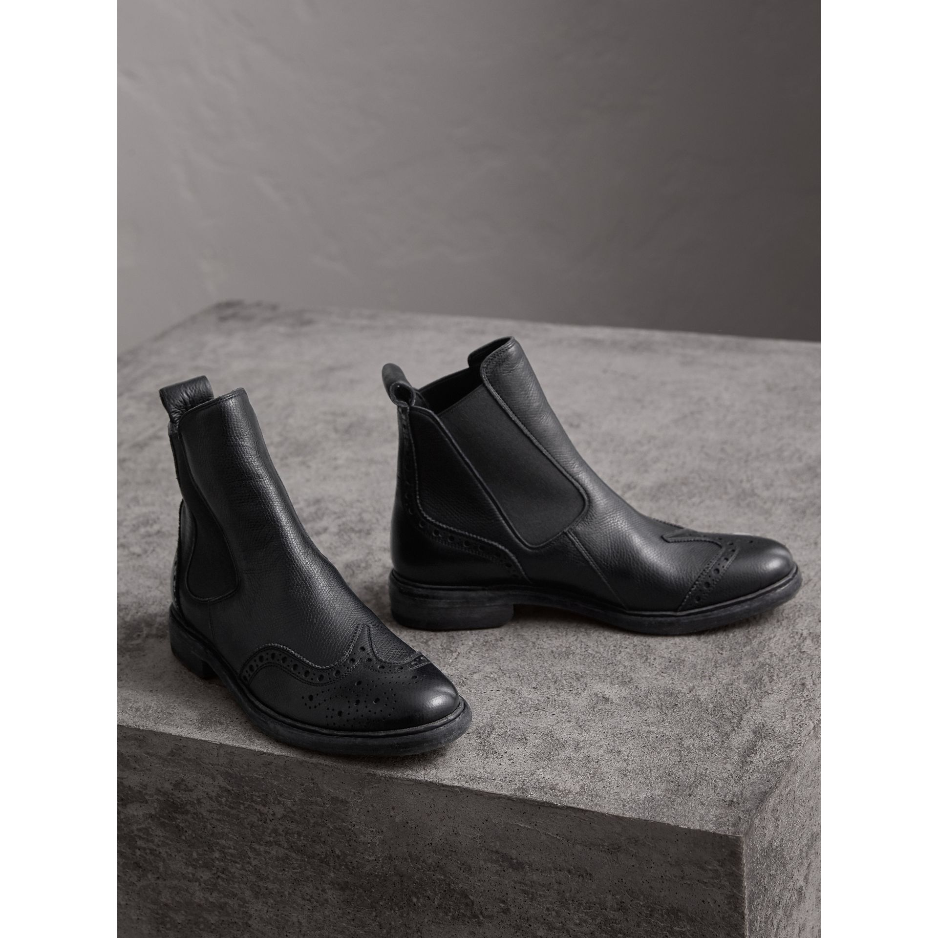 Brogue Detail Textured Leather Chelsea Boots in Black - Women | Burberry - gallery image 4