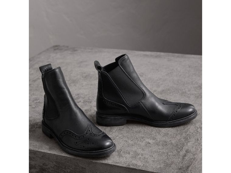 Brogue Detail Textured Leather Chelsea Boots in Black - Women | Burberry - cell image 4