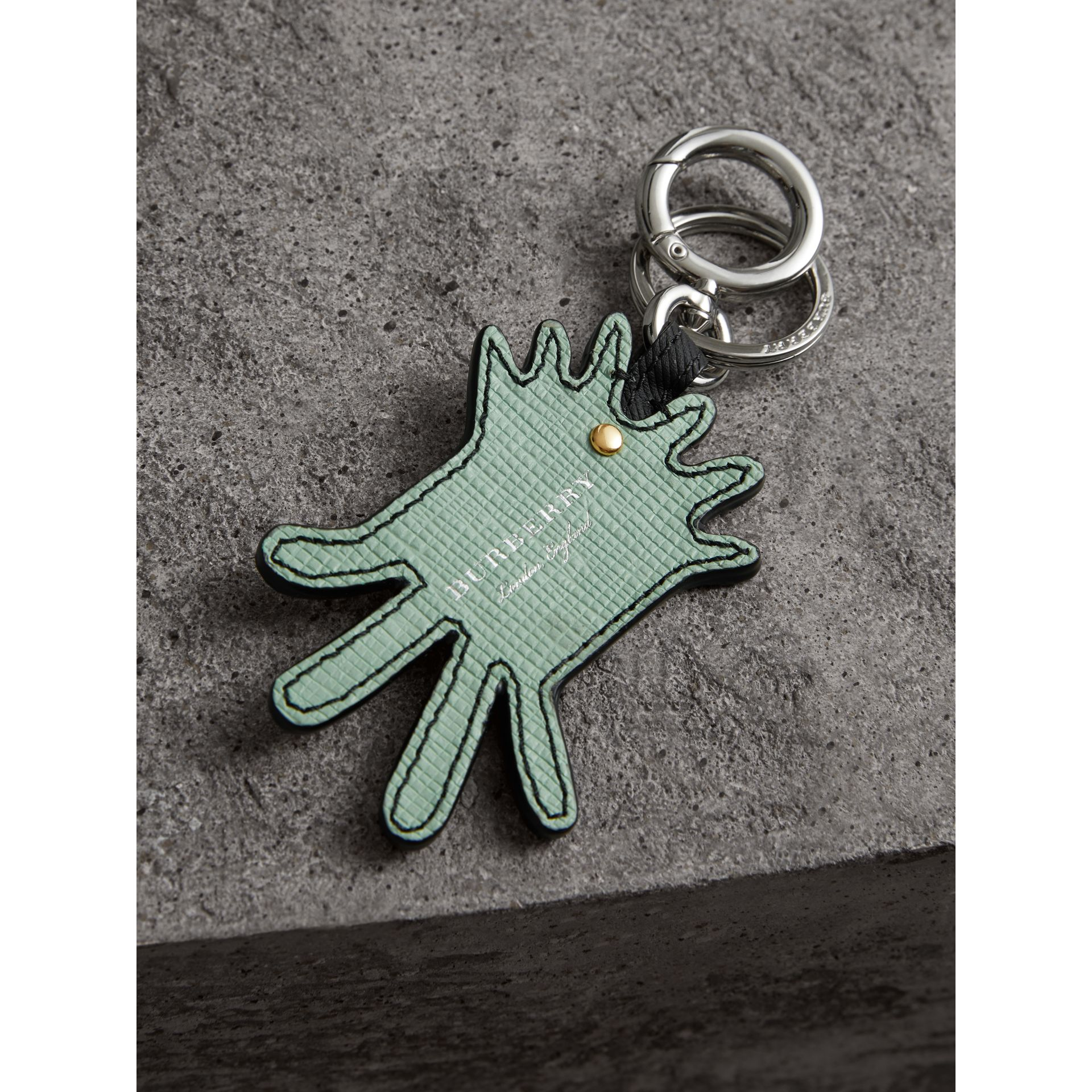 Creature Motif Leather Trim Key Ring in Light Mint | Burberry - gallery image 2
