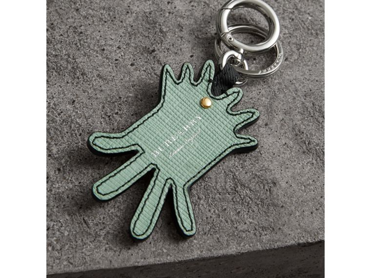 Creature Motif Leather Trim Key Ring in Light Mint | Burberry - cell image 2