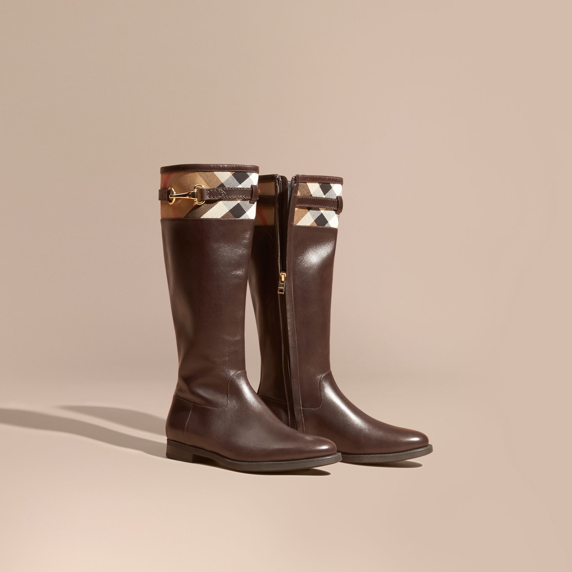 Chestnut House Check Detail Leather Riding Boots - gallery image 1