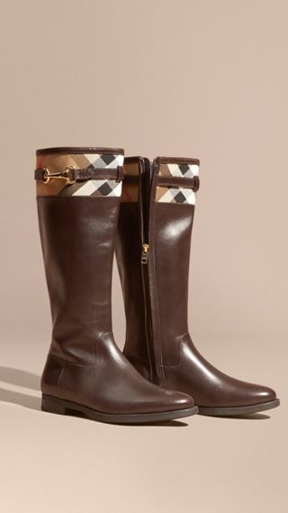 House Check Detail Leather Riding Boots