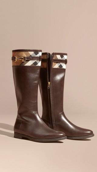 Stivali da equitazione in pelle con dettaglio House check